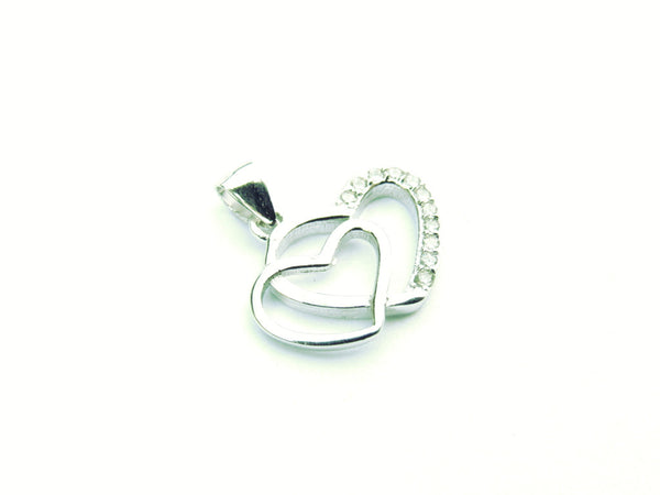 Double Hearts Silver Pendant