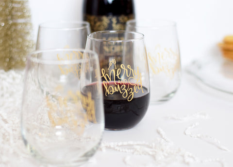 Wine Glass // Merry & Buzzed set of 4