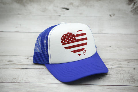 American Flag Heart Hat