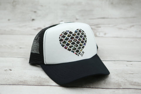 Bokeh Mermaid Scale Heart Hat
