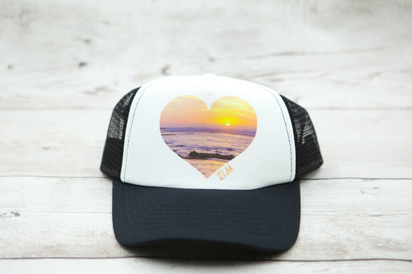 Beach Sunset Heart Hat