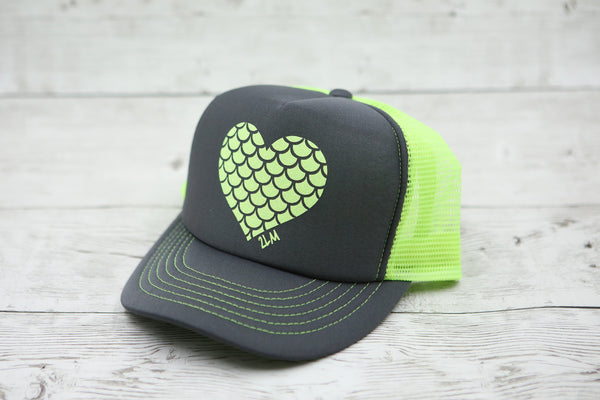 Limited Edition Mermaid Scale Heart Hat Charcoal/Neon Yellow