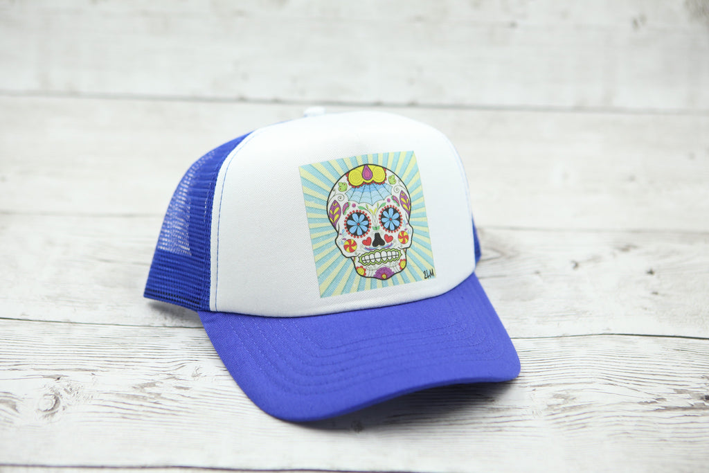 Sugar Skull Hat (Blue Burst)