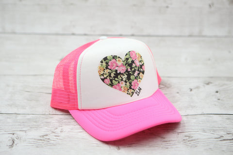 Floral Heart Hat (Black Floral)