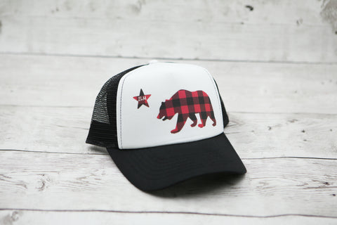 Buffalo Plaid California Bear Hat