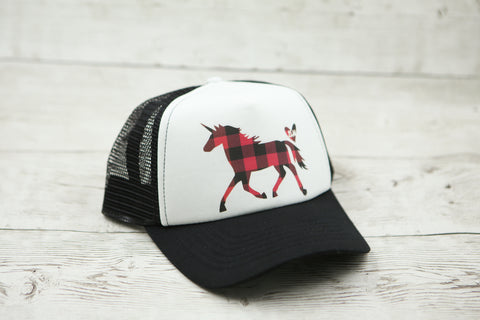 Buffalo Plaid Unicorn Hat