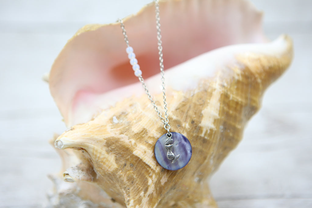 Mermaid and Shell Necklace- Blue