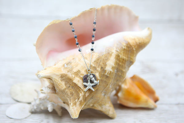 Mermaid and Starfish Necklace- Blue