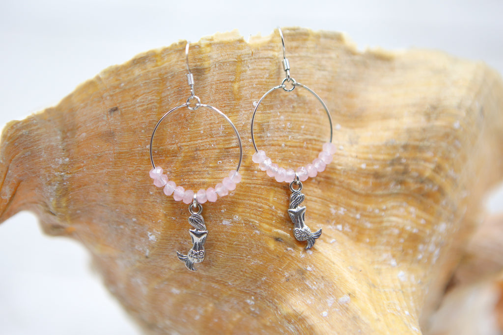 Mermaid Hoop Earrings- Pink