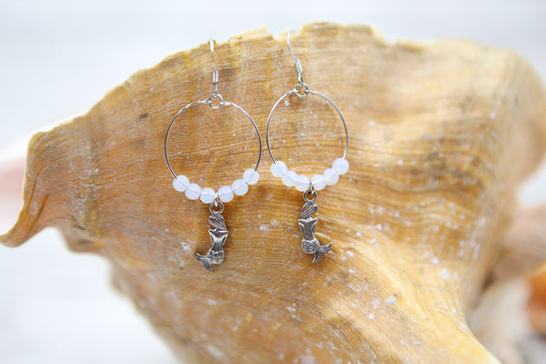 Mermaid Hoop Earrings- Opal