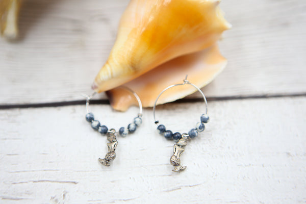 Mermaid Hoop Earrings- Blue