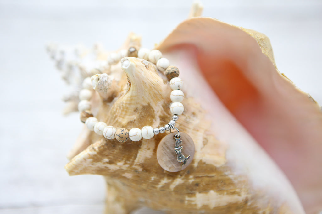Mermaid and Shell Bracelet- Peach and Cream