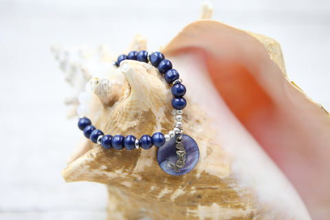 Mermaid and Shell Bracelet- Blue