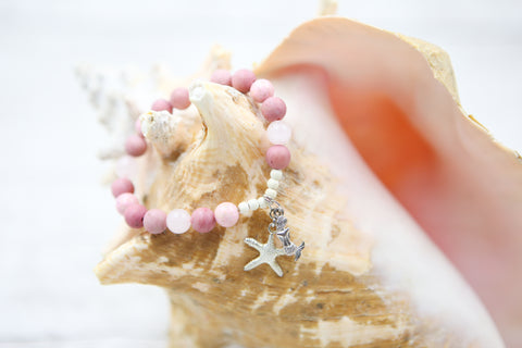 Mermaid and Starfish Bracelet- Pink