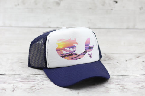 Sunset Mermaid Hat- Navy/Wt