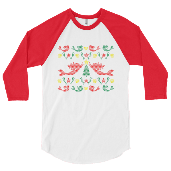 Mermaid Christmas Sweater Raglan- Multi Image
