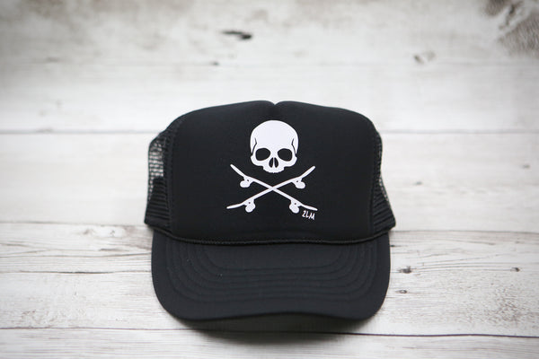 Skull and Skateboards Hat (with or without bow)