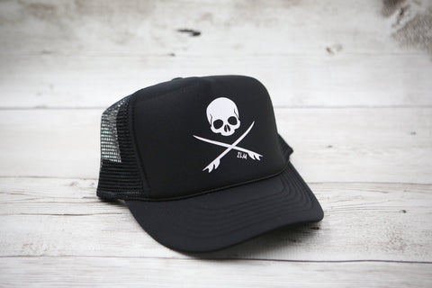Skull and Surfboards Hat (with or without bow)