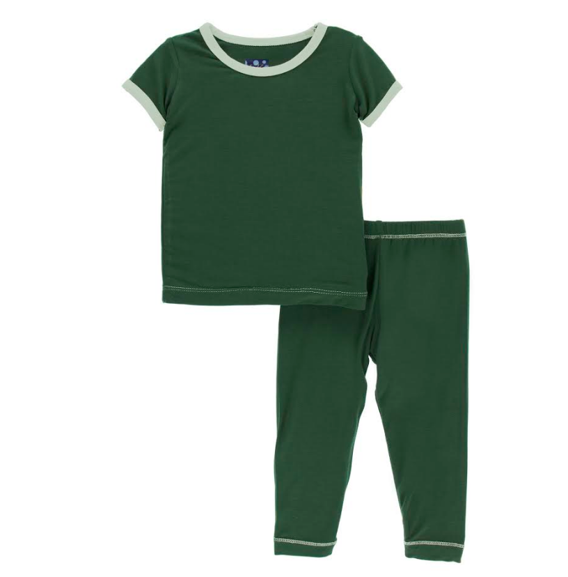 Kickee Pants Solid Short Sleeve Pajama Set - Topiary with Aloe
