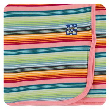Kickee Pants Print Swaddling Blanket - Cancun Strawberry Stripe