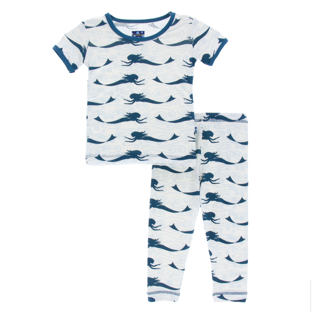 Kickee Pants Short Sleeve Pajama Set * Natural Mermaid