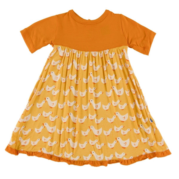 Kickee Pants Short Sleeve Swing Dress * Fuzzy Bee Duck