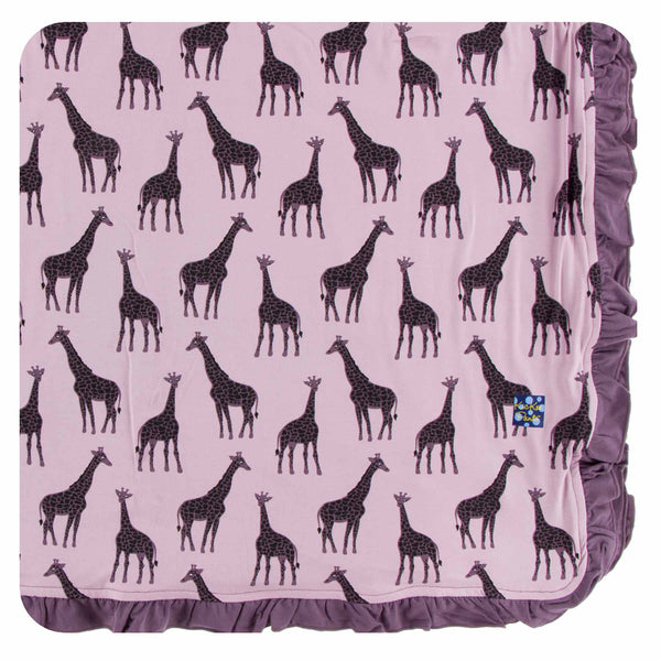 Kickee Pants Ruffle Toddler Blanket - Sweet Pea Giraffe