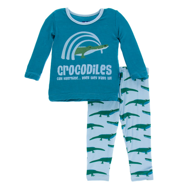 Print Long Sleeve Pajama Set * Pond Crocodile