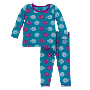 Load image into Gallery viewer, Kickee Pants Long Sleeve Pajama Set Seagrass Puffer
