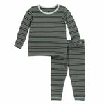 Kickee Pants Long Sleeve Pajama Set - Succulent Kenya Stripe