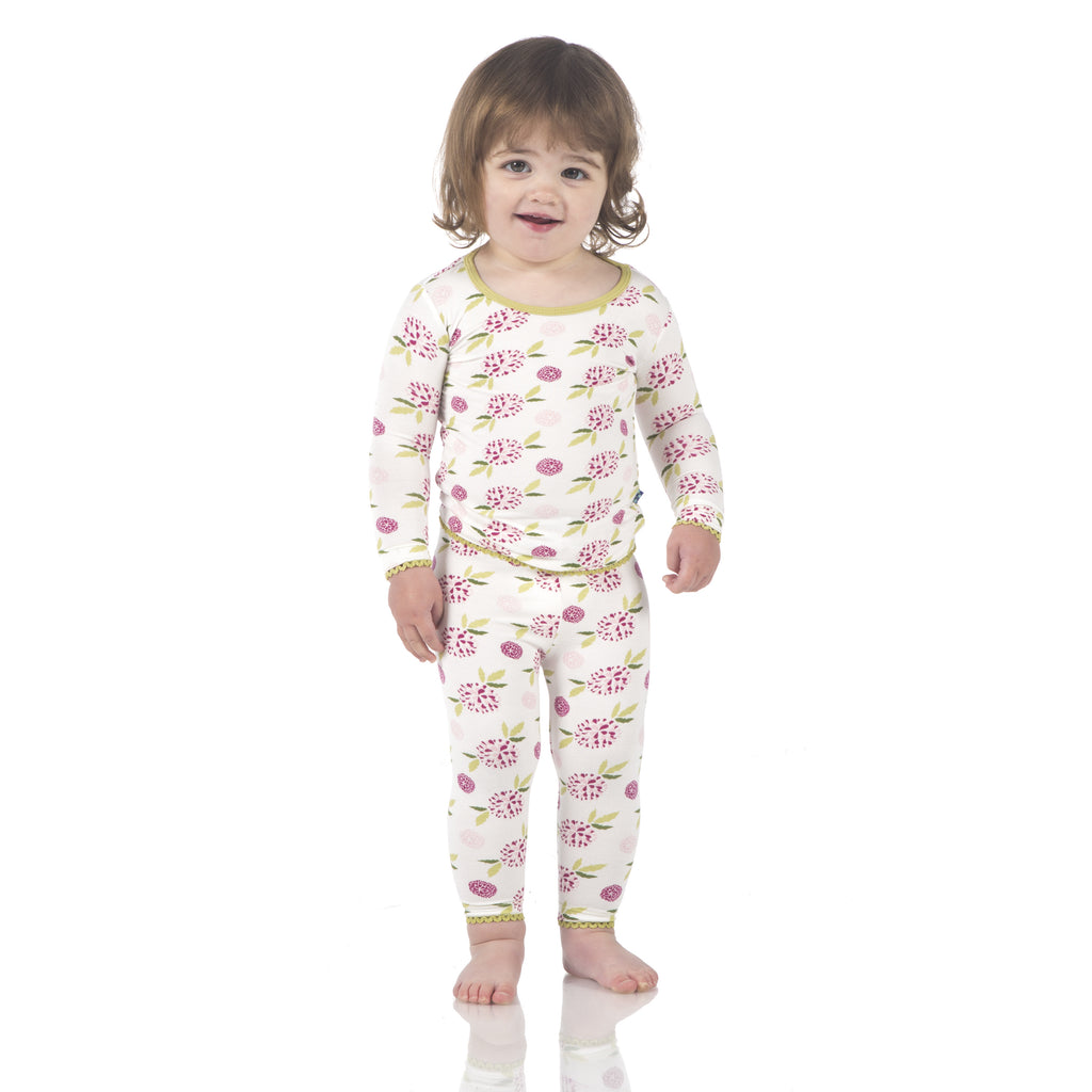 Kickee Pants Long Sleeve Pajama Set * Natural Marigold
