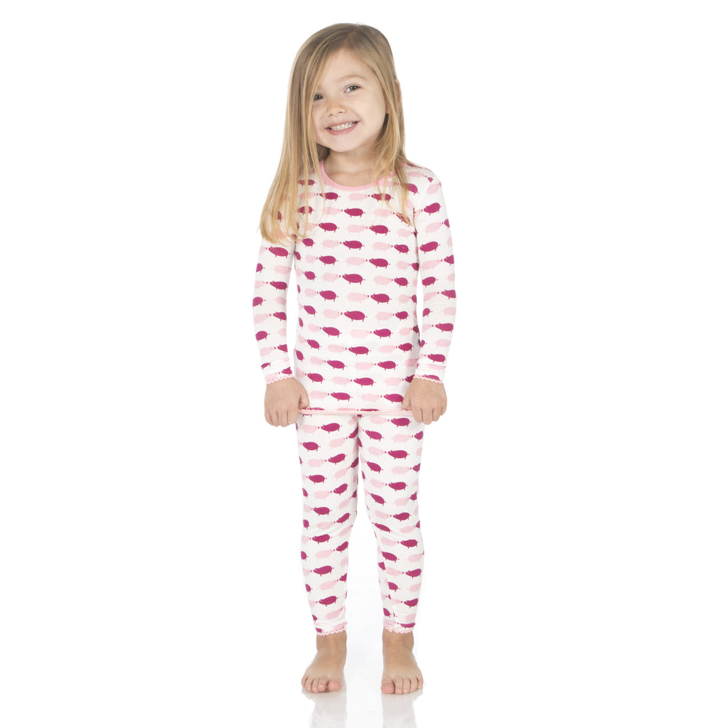 Kickee Pants Long Sleeve Pajama Set * Natural Pig