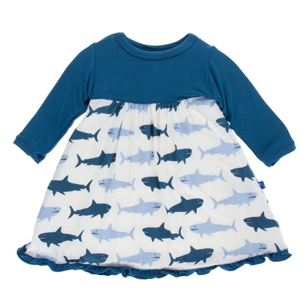Long Sleeve Swing Dress * Natural Megalodon