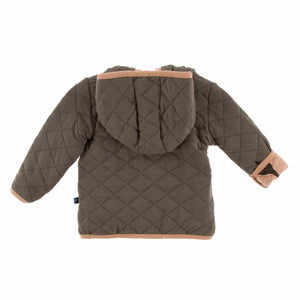 Kickee Pants Quilted Jacket with Sherpa-Lined Hood - Suede Giraffe