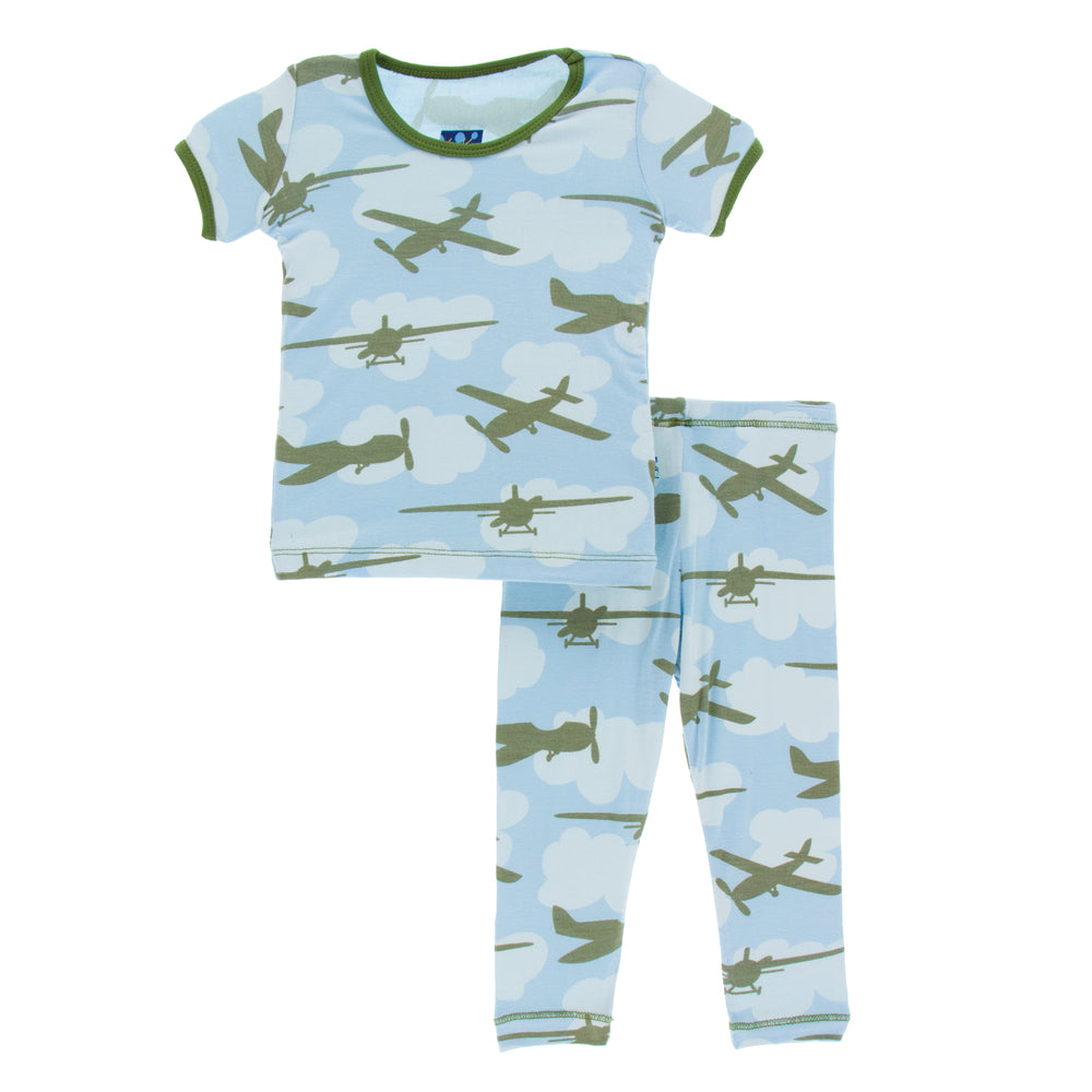 Kickee Pants Short Sleeve Pajama Set * Pond Airplanes