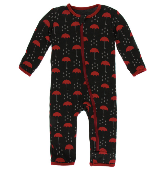 Kickee Pants Print Coverall with ZIPPER - Umbrellas and Rain Clouds