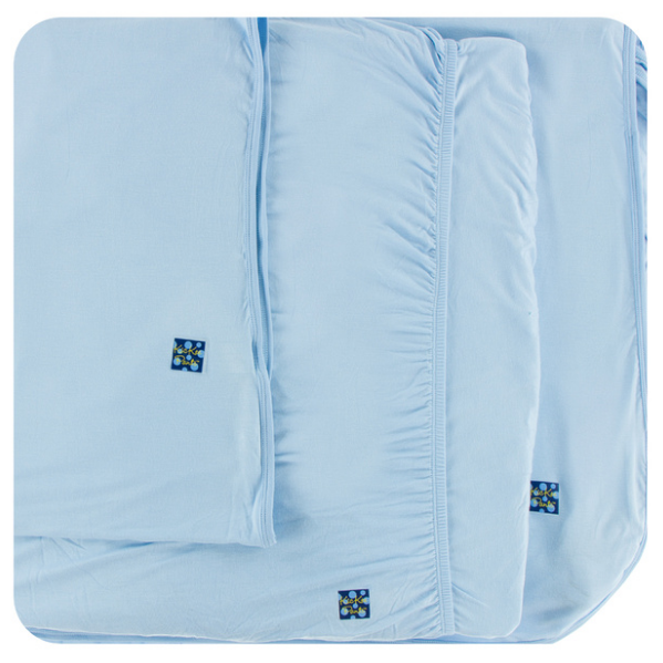 Kickee Pants Solid Twin Sheet Set - Pond