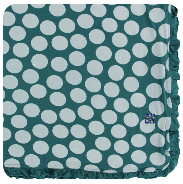 Kickee Pants Print Ruffle Toddler Blanket - Ivy Mod Dot