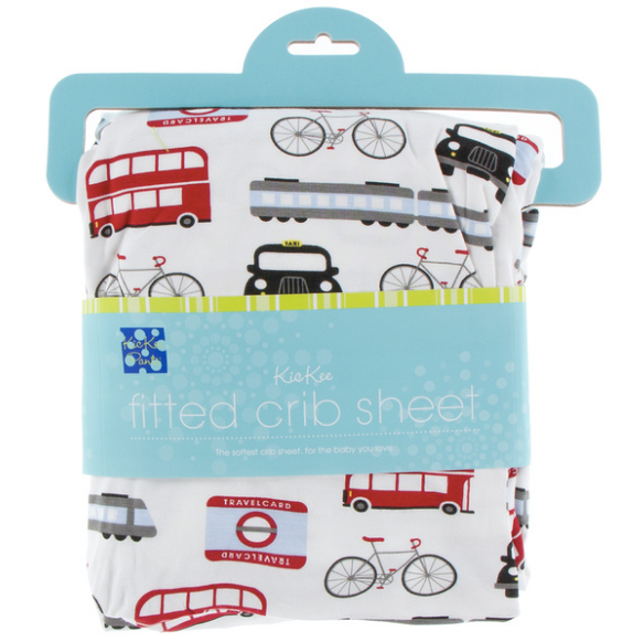 Kickee Pants Print Fitted Crib Sheet - London Transport
