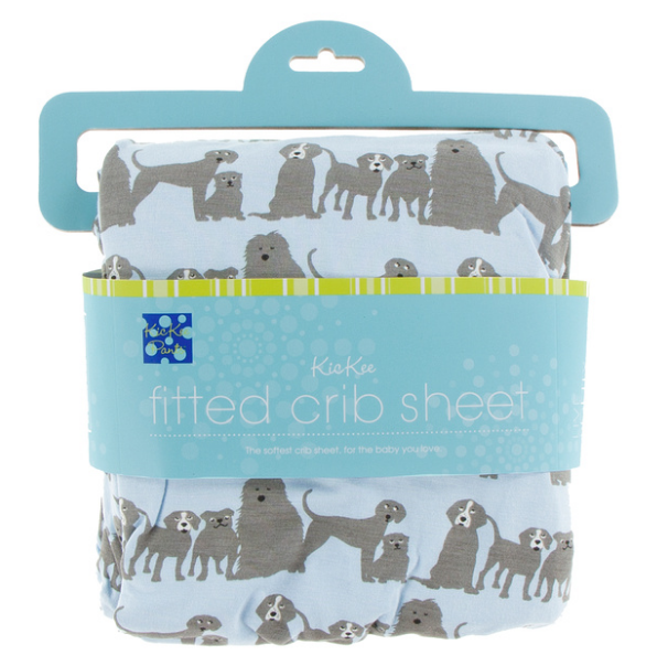 Kickee Pants Print Fitted Crib Sheet - London Dogs