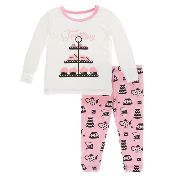 Kickee Pants Print Long Sleeve Pajama Set - Tea Time