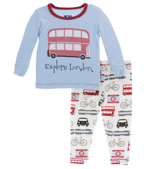 Kickee Pants Print Long Sleeve Pajama Set - London Transport