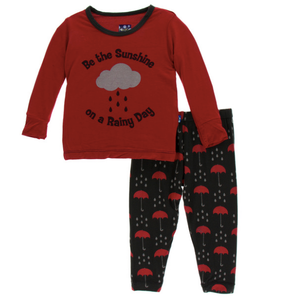 Kickee Pants Print Long Sleeve Pajama Set - Umbrellas and Rain Clouds