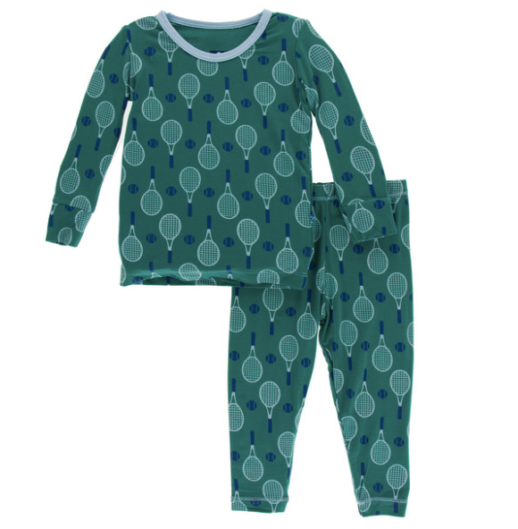 Kickee Pants Print Long Sleeve Pajama Set - Ivy Tennis