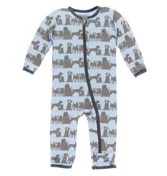Kickee Pants Print Coverall with ZIPPER - London Dogs