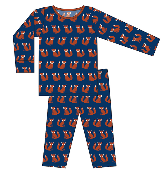 CUSTOM Kickee Pants Print Long Sleeve Pajama Set - Navy Fox
