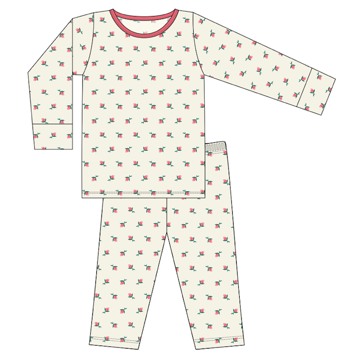 CUSTOM Kickee Pants Print Long Sleeve Pajama Set - Natural Rose Bud