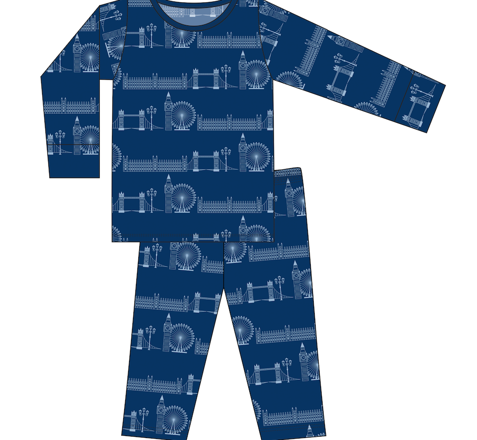 CUSTOM Kickee Pants Print Long Sleeve Pajama Set - London Cityscape
