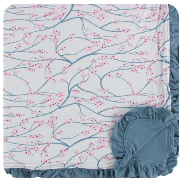 Kickee Pants Print Ruffle Toddler Blanket - Natural Japanese Cherry Tree