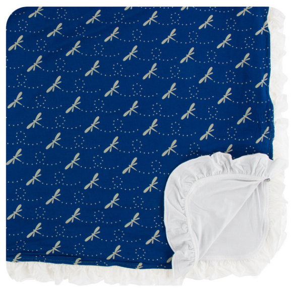Kickee Pants Print Ruffle Toddler Blanket - Navy Dragonfly